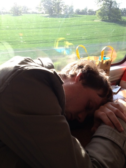 Quinns, asleep on the train home.